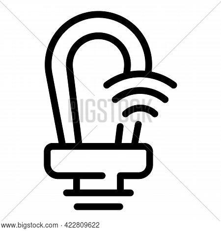 Power Smart Lightbulb Icon. Outline Power Smart Lightbulb Vector Icon For Web Design Isolated On Whi