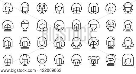 Wig Icon. Outline Wig Vector Icon For Web Design Isolated On White Background