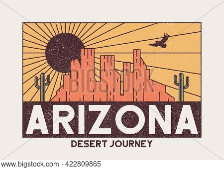 Arizona T-shirt Design With Rocky Mountains, Eagle And Cactus. Vintage Typography Graphics For Tee S