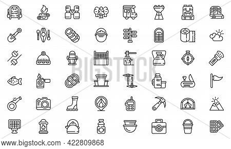 Campsite Icon. Outline Campsite Vector Icon For Web Design Isolated On White Background