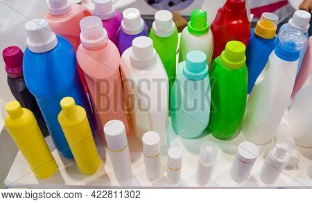 Collection of plastic bottles from recyclable type of polymer.