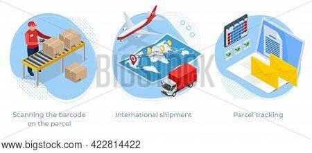 Isometric Concept Of Scanning The Barcode On The Parcel, International Shipment And Parcel Tracking.