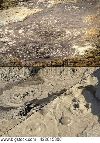 The Closeup Of A Mud Volcano Or Mud Dome On Kamchatka