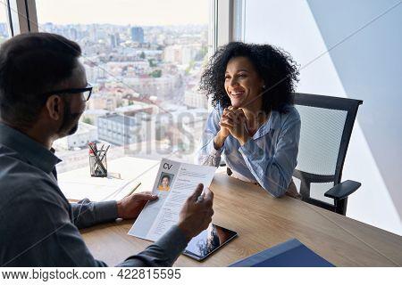 Friendly Interview Between Indian Businessman Hr Director Holding Paper Cv Hiring For Job Female Afr