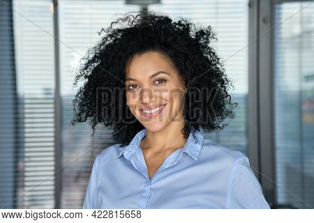 Headshot Portrait Of Confident Smiling Successful African American Businesswoman Executive Top Manag