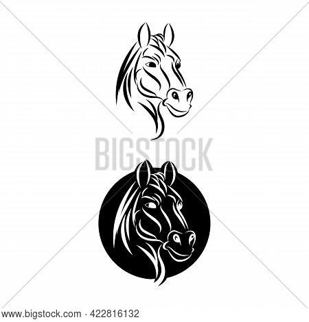 Black Head Horse Icon Vector Isolated On White Background. Black Head Horse Icon Vector Illustration