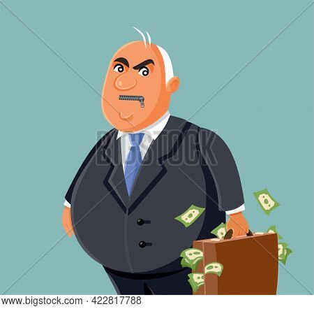 Corrupt Businessman With A Zipper On His Mouth Vector Illustration