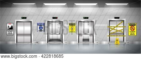 Set Of Realistic Elevators With Chrome Metal Door Or Three Iron Elevator In Factory Site Or Building