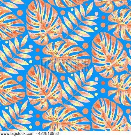 Tropical Jungle Leaves Seamless Pattern.vector Drawing. Abstract Art Nature Background Vector. Exoti