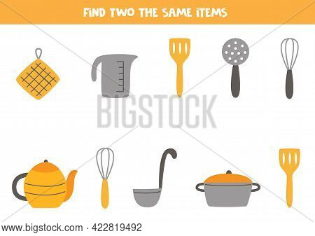 Find Two The Same Kitchen Items. Educational Logical Game For Kids.