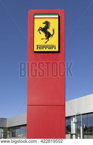 Swindon, Uk - June 4, 2021: Ferrari Sign In Front Of The Official Ferrari Dealer - Dick Lovett In Sw