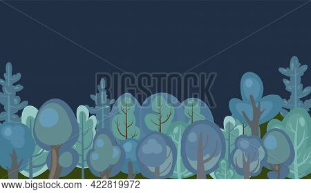 Flat Forest. Night Landscape With Trees. Illustration In A Simple Symbolic Style. A Funny Green Scen