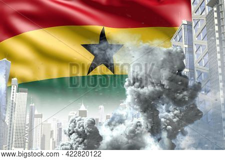 Big Smoke Column In The Modern City - Concept Of Industrial Accident Or Terrorist Act On Ghana Flag