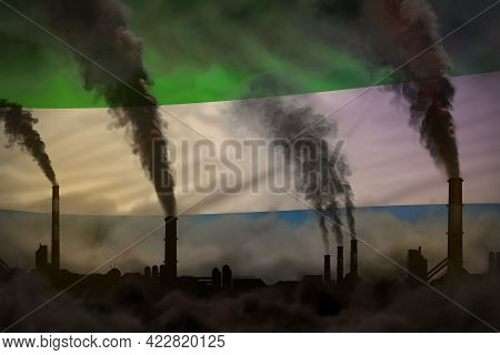 Heavy Smoke Of Industrial Chimneys On Sierra Leone Flag - Global Warming Concept, Background With Sp