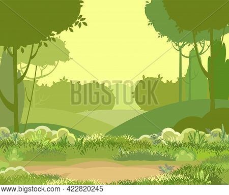 Glade. Amusing Beautiful Vegetation Landscape. Silhouette. Cartoon Style. Hills With Grass And Trees
