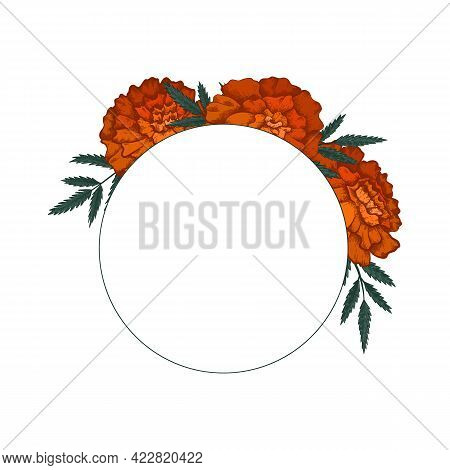 Round Frame With Colored Sketch Of Marigolds With Leaves And Copy Space. Invitation Cards With Flowe