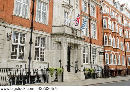 London, Uk - April 16, 2021: Entrance To The Hellenic Centre In Marylebone, Central London.  The Cen