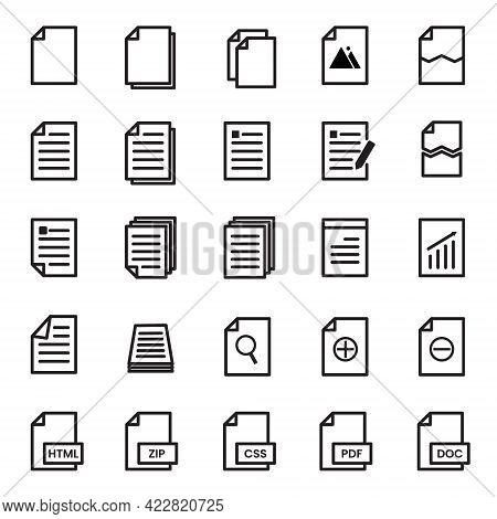 Vector Illustration Of Archive Folder Document File Set Icon With Black Line Style. Both For Busines