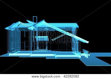 House 3D rendered xray blue transparent isolated on black