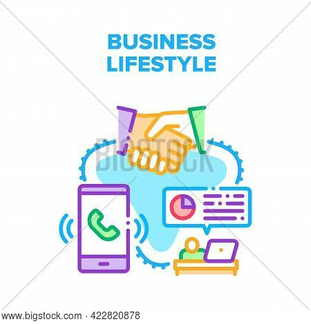 Business Lifestyle Occupation Vector Icon Concept. Calling And Discussing On Meeting With Partner An