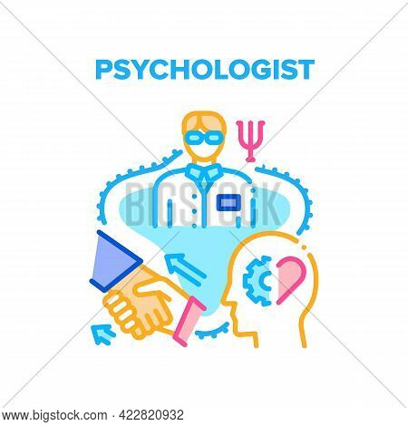 Psychologist Psychotherapy Vector Icon Concept. Psychologist Professional Psychiatry Therapy For Pat