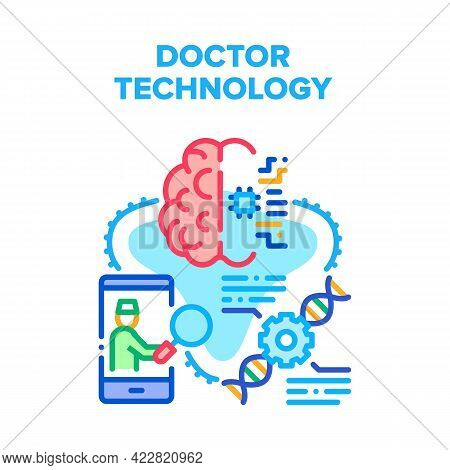 Doctor Technology Innovation Vector Icon Concept. Doctor Technology For Treatment Human Brain And Ch