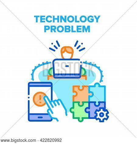 Technology Problem Solve Vector Icon Concept. Man Solving Laptop And Broken Smartphone Technology Pr