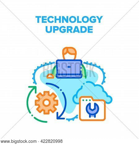 Technology Upgrade Process Vector Icon Concept. Programmer Technology Upgrade And Renovate System, C