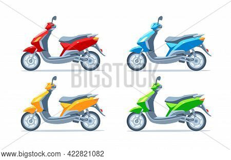 Scooter, Motor Scooter, Motorcycle Of Different Colors On A White Background. Yellow, Red, Green, Bl