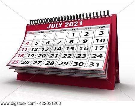 Desktop Calendar July 2021 Isolated In White Background, July 2021 Spiral Calendar. 3d Render