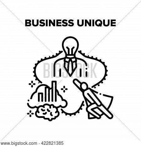 Business Unique Success Idea Vector Icon Concept. Businessman With Unique Notion Of Occupation And S