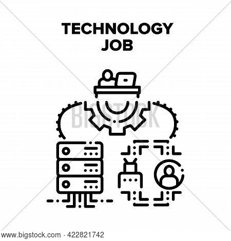 Technology Job Vector Icon Concept. Programmer It Worker Developing Software Code On Computer At Wor