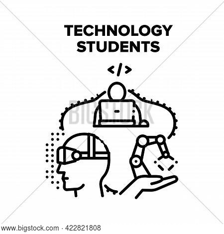 Technology Students For Study Vector Icon Concept. Technology Students For Learning Language And Pro