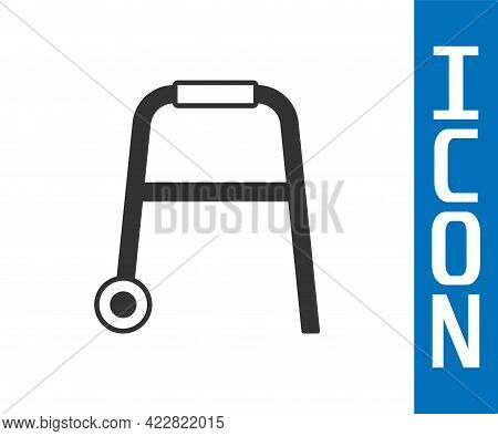 Grey Walker For Disabled Person Icon Isolated On White Background. Vector