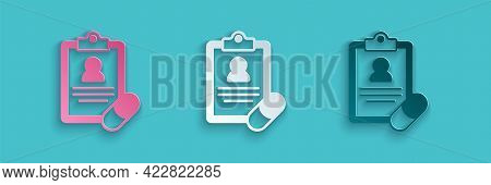 Paper Cut Medical Prescription Icon Isolated On Blue Background. Rx Form. Recipe Medical. Pharmacy O