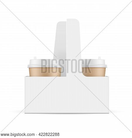 Cardboard Coffee Cups In Carrier Box, Isolated On White Background. Vector Illustration