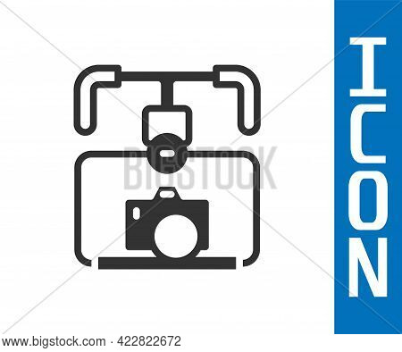 Grey Gimbal Stabilizer With Dslr Camera Icon Isolated On White Background. Vector