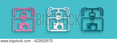 Paper Cut Gimbal Stabilizer With Dslr Camera Icon Isolated On Blue Background. Paper Art Style. Vect