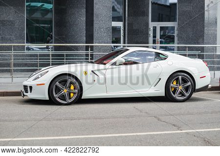 Moscow, Russia - June 2021: Ferrari 599 Gto Standing Next To Building With Granite Facade