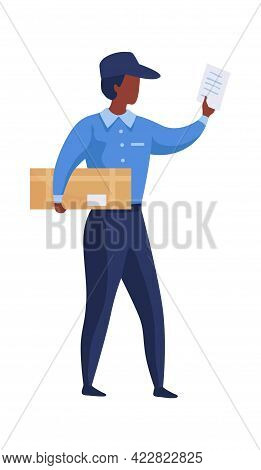 Postman Shipping Parcel. Cartoon Mailman Brings Letters And Boxes. Courier Deliveries Correspondence