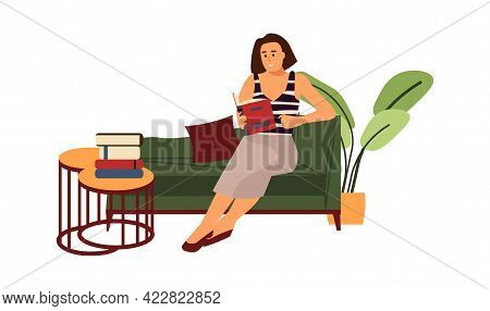 Reading Woman. Cartoon Character Sitting At Sofa With Book. Female Studying At Home. Girl Enjoying O