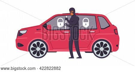Theft Car. Cartoon Robber Breaks Automobile Door. Criminal Steals Transport. Bandit And Red Closed V