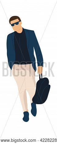 Trendy Man Going To Work. Cartoon Male Character Walking Alone. Modern Outfit. Office Worker Carries