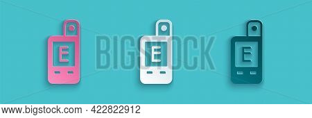 Paper Cut Light Meter Icon Isolated On Blue Background. Hand Luxmeter. Exposure Meter - A Device For