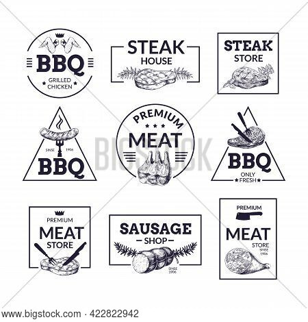 Meat Logo. Hand Drawn Steakhouse, Butchery And Market Labels With Sausages Or Pork Slices Sketches.
