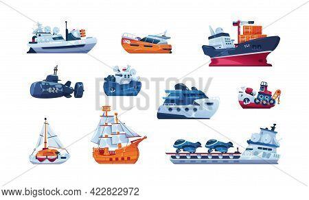 Cartoon Boats. Sea Transport. Fishing Trawler And Cargo Ship. Wooden Sailboat. Funny Submarine And W