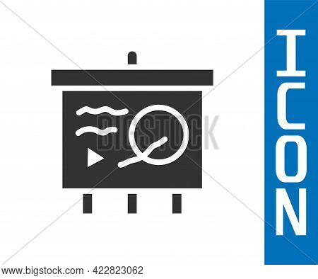 Grey Scenario On Chalkboard Icon Isolated On White Background. Script Reading Concept For Art Projec