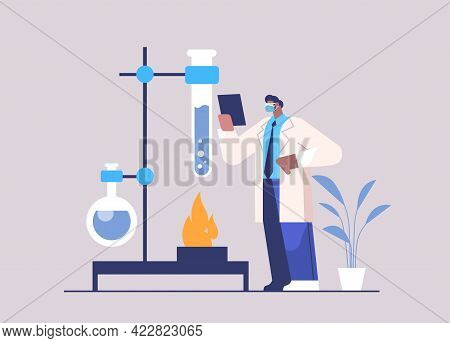 Research Scientist Working With Test Tube Researcher Making Chemical Experiment In Laboratory Molecu