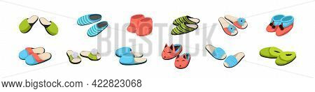 Cartoon Slippers. Pairs Of Shoes For Home. Comfortable Soft Male Or Female Footwear Set. Casual Foot