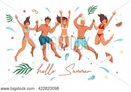Summer Beach People. Happy Friends Jumping. Cartoon Characters Standing Together And Holding Hands.